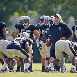 Jul 29, 2013; Metairie, LA, USA; New Orleans Saints defensive coordinator Rob Ryan works with the defense during a morning training camp practice at the team facility.  Mandatory Credit: Derick E. Hingle-USA TODAY Sports