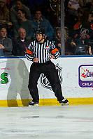 KELOWNA, BC - NOVEMBER 16:  Referee Kevin Webinger skates at the Kelowna Rockets against the Kamloops Blazers at Prospera Place on November 16, 2019 in Kelowna, Canada. (Photo by Marissa Baecker/Shoot the Breeze)