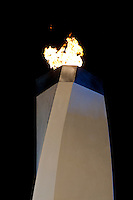 The Olympic Cauldron burns brightly in the Medals Plaza in Whistler during the 2010 Olympic Winter Games in Whistler, BC Canada.