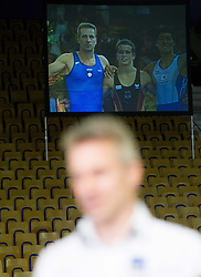 Movie of Athlete Aljaz Pegan of Slovenia when he retires   after succesfsul gymnastics career during Final day 2 of Artistic Gymnastics World Cup Ljubljana, on April 27, 2013, in Hala Tivoli, Ljubljana, Slovenia. (Photo By Vid Ponikvar / Sportida.com)