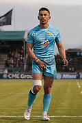Worcester Warriors full-back Nick David checking all is in place during the Premiership Rugby Cup match between Saracens and Worcester Warriors at Allianz Park, Hendon, United Kingdom on 11 November 2018.