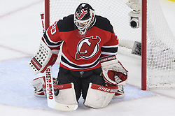 May 21, 2012; Newark, NJ, USA; New Jersey Devils goalie Martin Brodeur (30) makes a save during the first period in game four of the 2012 Eastern Conference Finals at the Prudential Center.