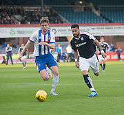 Dundee&rsquo;s Kane Hemmings runs at Kilmarnock&rsquo;s Stuart Findlay - Dundee v Kilmarnock, Ladbrokes Scottish Premiership at Dens Park<br /> <br />  - &copy; David Young - www.davidyoungphoto.co.uk - email: davidyoungphoto@gmail.com