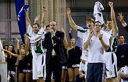 Dusan Djordjevic (10) of Olimpija, Head coach of Olimpija Jure Zdovc and Pawel Kikowski (11) of Olimpija at basketball match of 4th Round of NLB League between KK Union Olimpija and KK Crvena zvezda,  on October 24, 2009, Arena Tivoli, Ljubljana, Slovenia.  Union Olimpija won 94:76.  (Photo by Vid Ponikvar / Sportida)