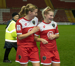 Bristol Academy Womens' Grace McCatty celebrates the win with Bristol Academy Womens' goal scorer Nikki Watts  - Photo mandatory by-line: Dougie Allward/JMP - Mobile: 07966 386802 - 13/11/2014 - SPORT - Football - Bristol - Ashton Gate - Bristol Academy Womens FC v FC Barcelona - Women's Champions League