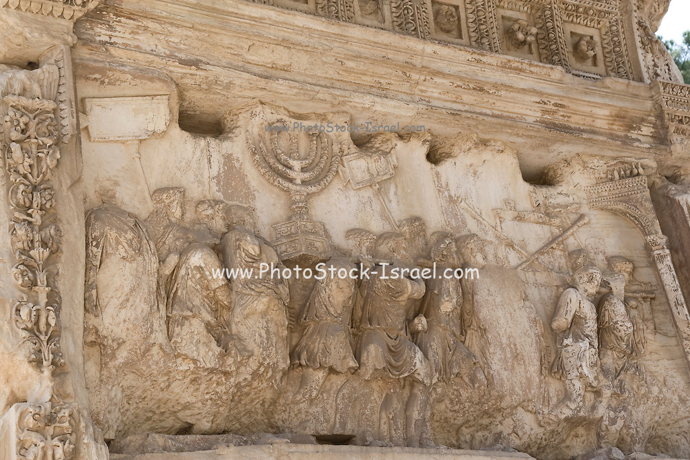 Italy, Rome, Arch of Titus, (Titus gate or Arcus Titi) - the conquering of Jerusalem. Details of the Menorah being carried back to Rome