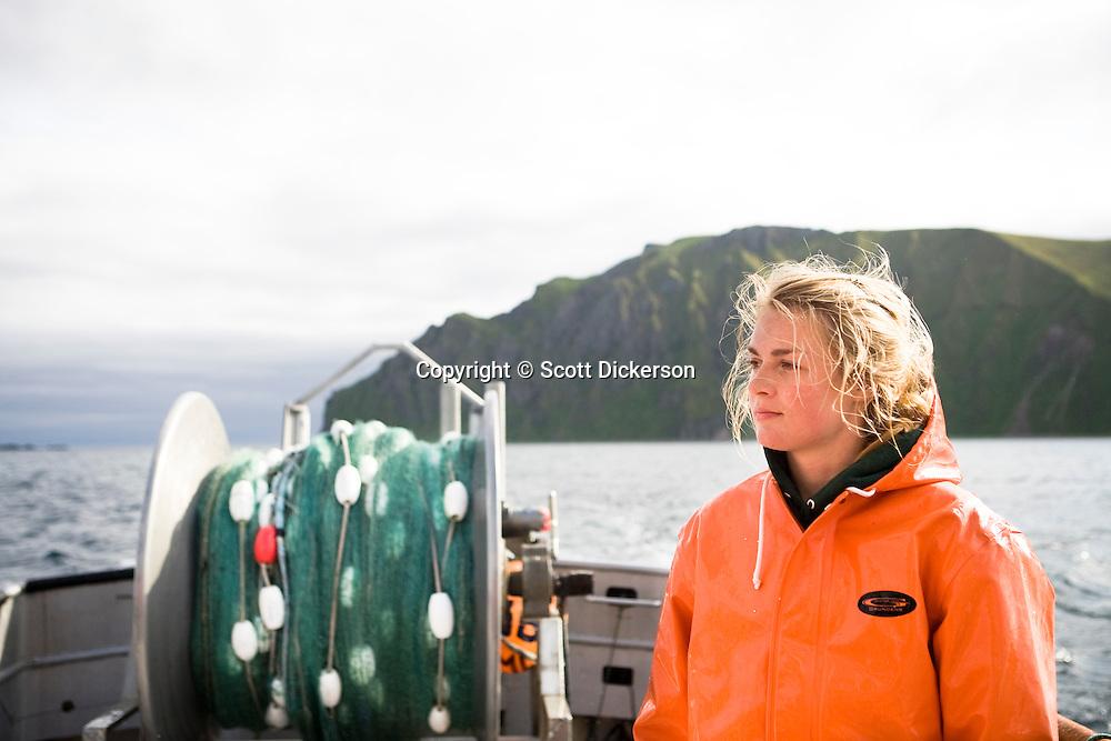 Emma Teal Laukitis commercial sockeye salmon fishing in the Eastern Aleutian Islands, area M, region aboard the F/V Lucky Dove.