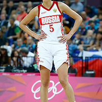 09 August 2012: Russia Evgeniya Belyakova rests during 81-64 Team France victory over Team Russia, during the women's basketball semi-finals, at the 02 Arena, in London, Great Britain.