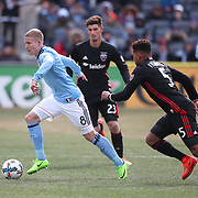 NEW YORK, NEW YORK - March 12:  Alexander Ring #8 of New York City FC is challenged by Sean Franklin #5 of D.C. United during the NYCFC Vs D.C. United regular season MLS game at Yankee Stadium on March 12, 2017 in New York City. (Photo by Tim Clayton/Corbis via Getty Images)