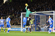 Brighton goalkeeper, David Stockdale (13) punches clear during the Sky Bet Championship match between Brighton and Hove Albion and Brentford at the  American Express Community Stadium, Brighton and Hove, England on 5 February 2016. Photo by David Charbit.