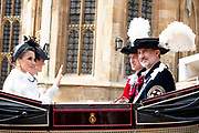 "Koning Willem Alexander wordt door Hare Majesteit Koningin Elizabeth II geïnstalleerd in de 'Most Noble Order of the Garter'. Tijdens een jaarlijkse ceremonie in St. Georgekapel, Windsor Castle, wordt hij geïnstalleerd als 'Supernumerary Knight of the Garter'.<br /> <br /> King Willem Alexander is installed by Her Majesty Queen Elizabeth II in the ""Most Noble Order of the Garter"". During an annual ceremony in St. George's Chapel, Windsor Castle, he is installed as ""Supernumerary Knight of the Garter"".<br /> <br /> Op de foto / On the photo: Felipe VI van Spanje / King Felipe VI from Spain and Queen Letizia"