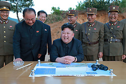 Undated photo from North Korean News Agency shows North Korean leader Kim Jong-un inspecting a Korean People's Army unit, in Pyongyang, North Korea. Photo released in August 2017. Photo by Balkis Press/ABACAPRESS.COM