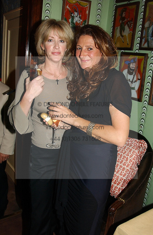 Left to right, LADY COSIMA SOMERSET and KATHERINE IRELAND at a party for interior designer Katherine Ireland held at Marks club, 46 Charles Street, London W1 on 27th September 2004.<br />