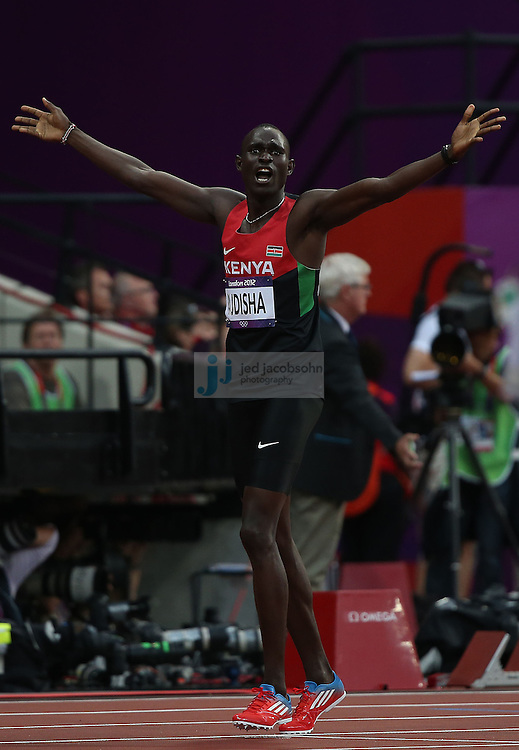 David Lekuta Rudisha of Kenya celebrates after winning the 800m final during track and field at the Olympic Stadium during day 13 of the London Olympic Games in London, England, United Kingdom on August 9, 2012..(Jed Jacobsohn/for The New York Times)..
