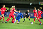 Chelsea Ladies penalty Ji So-Yun (10) during the UEFA Women's Champions League quarter final second leg match between Chelsea Ladies and Montpellier Feminines at the Kings Sports Ground, New Malden, United Kingdom on 28 March 2018. Picture by Robin Pope.