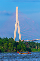 Cần Thơ Bridge, is a cable-stayed bridge over the Hậu River, the largest distributary of the Mekong River, in the city of Cần Thơ in southern Vietnam. The bridge is 2.75 kilometres long.