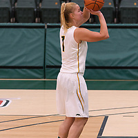 5th year forward Charlotte Kot (1) of the Regina Cougars in action during the Women's Basketball Preseason game on October 14 at Centre for Kinesiology, Health and Sport. Credit: Arthur Ward/Arthur Images