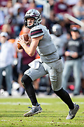 STARKVILLE, MS - NOVEMBER 17:  Nick Fitzgerald #7 of the Mississippi State Bulldogs runs the ball during a game against the Arkansas Razorbacks at Davis Wade Stadium on November 17, 2018 in Starkville, Mississippi.  The Bulldogs defeated the Razorbacks 52-6.  (Photo by Wesley Hitt/Getty Images) *** Local Caption *** Nick Fitzgerald