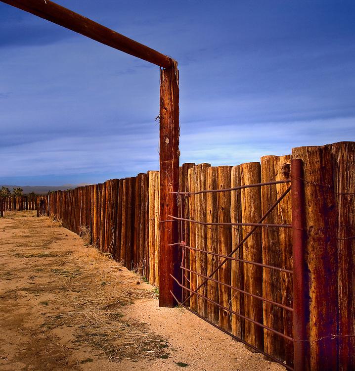 Abandoned cattle corral along Cima Road near Cima California within the Mojave National Preserve.