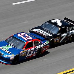 April 17, 2011; Talladega, AL, USA; NASCAR Sprint Cup Series driver Robby Gordon (7) drafts Casey Mears (13) during the Aarons 499 at Talladega Superspeedway.   Mandatory Credit: Derick E. Hingle