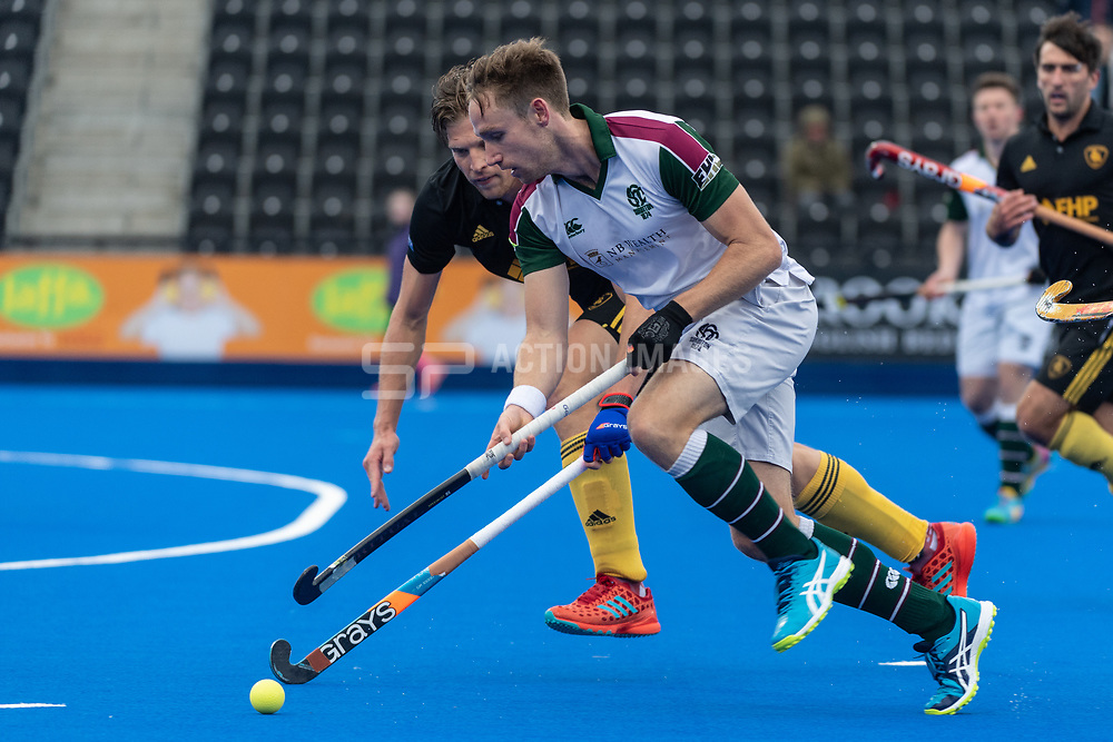 Surbiton's David Goodfield. Surbiton v Beeston - Men's Hockey League Finals, Lee Valley Hockey & Tennis Centre, London, UK on 28 April 2018. Photo: Simon Parker