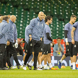 Juventus v Real Madrid UEFA Champions League final 2 June 2017; Zinedine Zidane (Real Madrid, Head coach) walks on to the pitch with his squad during the Juventus v Real Madrid UEFA Champions League final training session at the Principality Stadium, Cardiff<br /> <br /> &copy; Chris McCluskie | SportPix.org.uk