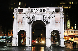 © Licensed to London News Pictures. 09/09/2013, UK. In anticipation of the launch of fragrance ROGUE by Rihanna, the superstar's ad campaign for her latest scent was projected across London'€™s iconic landmark, Marble Arch, London UK, 09 September 2013 Photo credit : Richard Goldschmidt/Piqtured/LNP