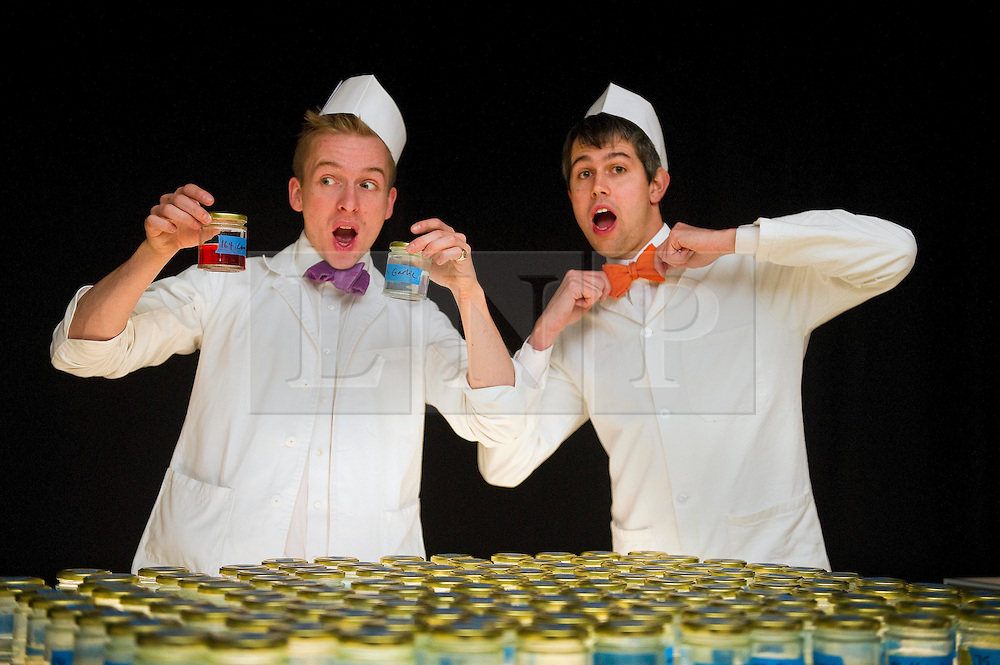© under license to London News Pictures.  25/10/10.Architechtural foodsmiths Sam Bompas (left) and Harry Parr (right) choose some of the  flavours available at the Artisanal Chewing Gum Factory inside Whiteleys Shoping Centre, London. .Visitors can choose and combine 40,000 flavours to create their own personal chewing gum in the newly opened micro-factory..