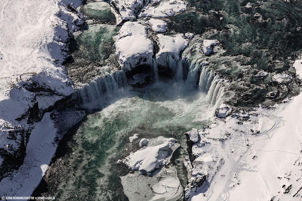 Godafoss in northeast iceland in wintertime