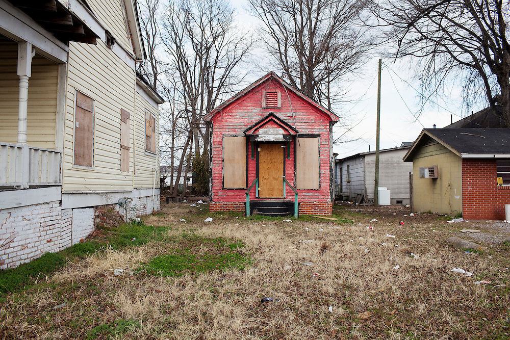 A boarded up house in Greenwood, Mississippi on February 17, 2011.