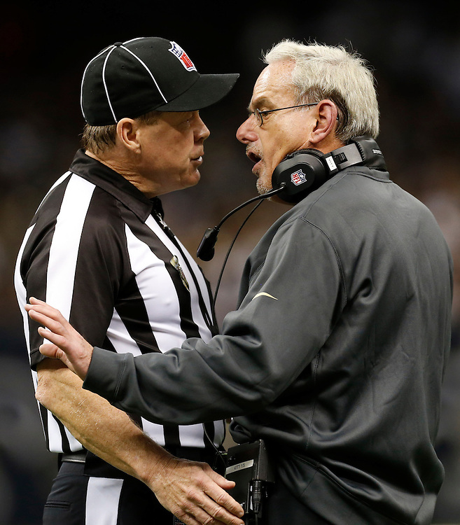 NEW ORLEANS, LA - NOVEMBER 11:  Interim Head Coach Joe Vitt of the New Orleans Saints argues with a official during a game against the Atlanta Falcons at Mercedes-Benz Superdome on November 11, 2012 in New Orleans, Louisiana.  The Saints defeated the Falcons 31-27.  (Photo by Wesley Hitt/Getty Images) *** Local Caption *** Joe Vitt