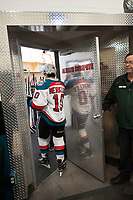 KELOWNA, CANADA - MARCH 7: Nick Merkley #10 of the Kelowna Rockets enters the dressing room after second period against the Victoria Royals on March 7, 2017 at Prospera Place in Kelowna, British Columbia, Canada.  (Photo by Marissa Baecker/Shoot the Breeze)  *** Local Caption ***