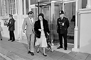 EDWINA CURRIE and DAVID MELLOR leave the Grand Hotel in Brighton where they attended the 1988 Conservative Conference.  A couple of months later Currie  was forced to resign after her statement that 'most of the egg production in this country, sadly, is now affected with salmonella'.  David Mellor was also involved in a number of scandals.  Photograph © Howard Barlow