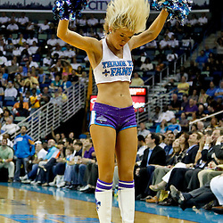 April 19, 2012; New Orleans, LA, USA; New Orleans Hornets Honeybees perform during the second half of a game against the Houston Rockets at the New Orleans Arena. The Hornets defeated the Rockets 105-99.   Mandatory Credit: Derick E. Hingle-US PRESSWIRE