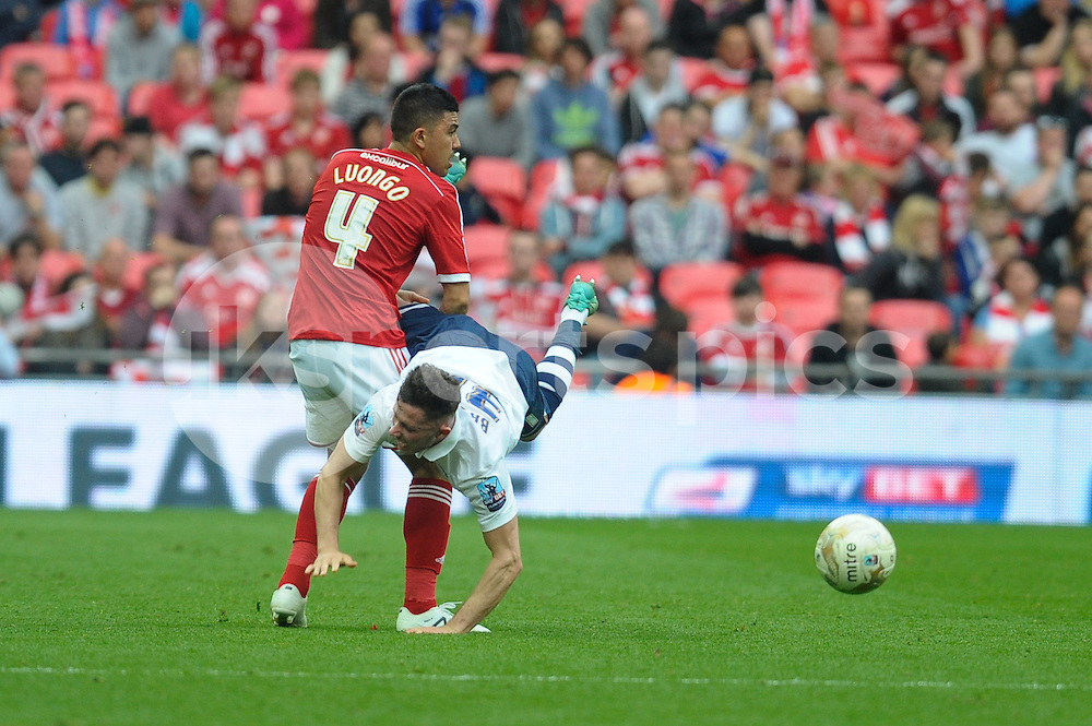 Massimo Luongo of Swindon Town and Alan Browne of Preston North End during the Sky Bet League 1 Play-Off Final match between Preston North End and Swindon Town at Wembley Stadium, London, England on 24 May 2015. Photo by Salvio Calabrese.