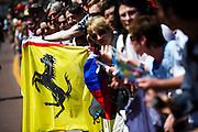 May 23, 2014: Monaco Grand Prix: Ferrari fans in pit lane