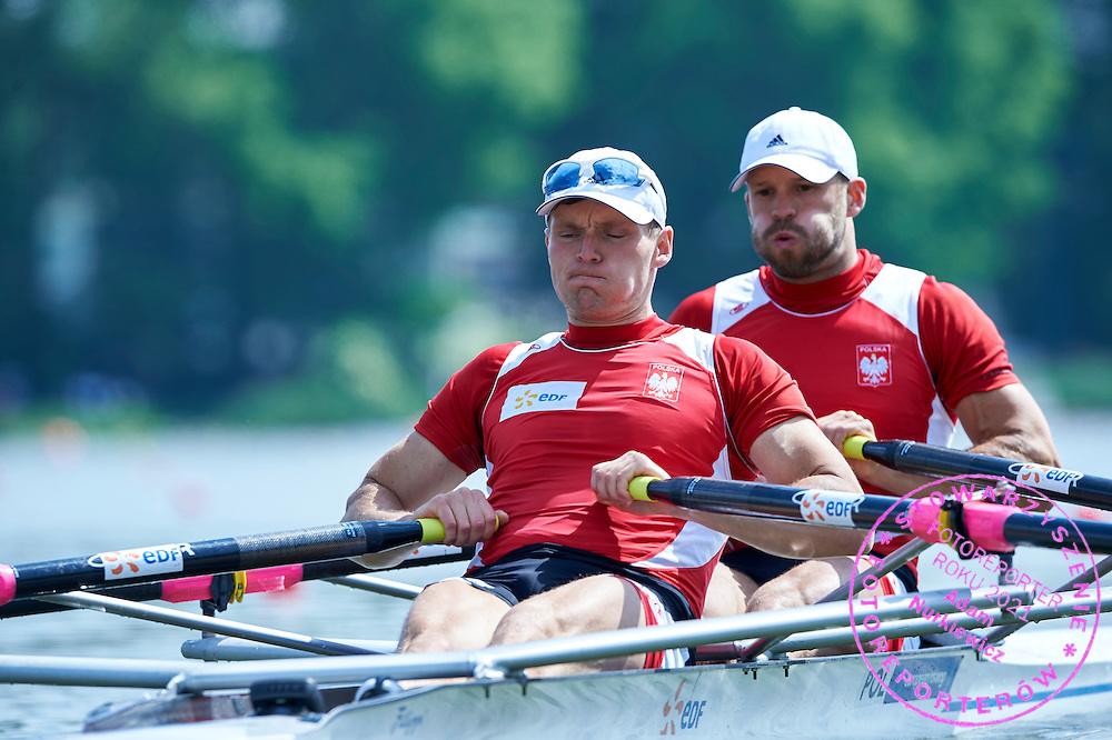 (bow) Dawid Grabowski and (stroke) Adam Wicenciak both from Poland compete at Men&rsquo;s Double Sculls (M2x) during first day the 2015 European Rowing Championships on Malta Lake on May 29, 2015 in Poznan, Poland<br /> Poland, Poznan, May 29, 2015<br /> <br /> Picture also available in RAW (NEF) or TIFF format on special request.<br /> <br /> For editorial use only. Any commercial or promotional use requires permission.<br /> <br /> Mandatory credit:<br /> Photo by &copy; Adam Nurkiewicz / Mediasport