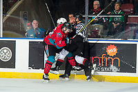 KELOWNA, CANADA - MARCH 16:  Schael Higson #21 of the Kelowna Rockets checks a player of the Vancouver Giants on March 16, 2019 at Prospera Place in Kelowna, British Columbia, Canada.  (Photo by Marissa Baecker/Shoot the Breeze)