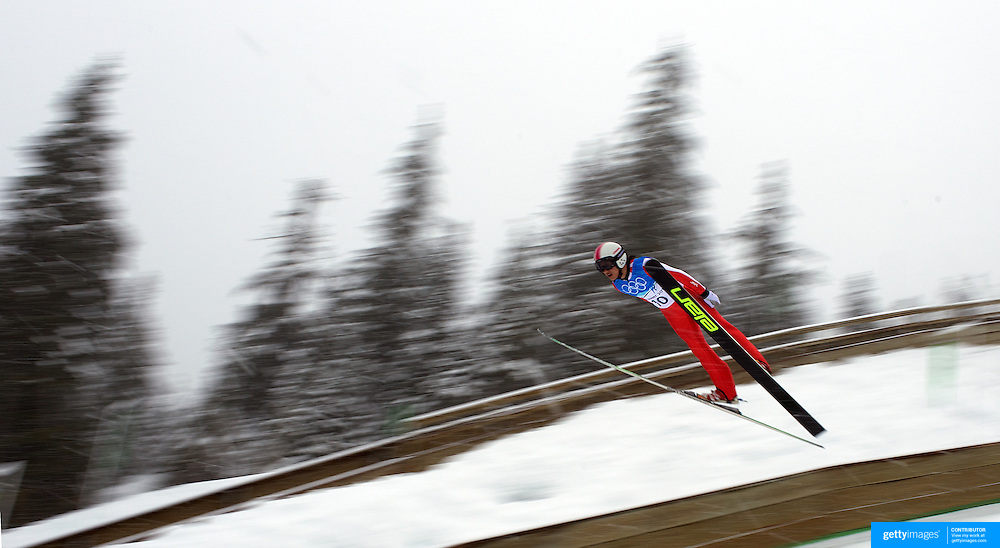 Winter Olympics, Vancouver, 2010.Yong-Jik Choi, Korea, in action during the Nordic Combined Ski Jumping at The Whistler Olympic Park, Whistler, during the Vancouver  Winter Olympics. 11th February 2010. Photo Tim Clayton