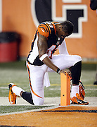 Cincinnati Bengals strong safety George Iloka (43) takes a private moment as he leans on an end zone pylon before the NFL AFC Wild Card playoff football game against the Pittsburgh Steelers on Saturday, Jan. 9, 2016 in Cincinnati. The Steelers won the game 18-16. (©Paul Anthony Spinelli)
