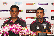 Faisalabad Wolves coach Naveed Anjum and Faisalabad Wolves vice captain Muhammad Salman during the Faisalabad Wolves team arrival press conference prior to the start of the Karbonn Smart CLT20 2013 held at the JW Marriott Hotel in Mohali on the 15th September 2013<br /> <br /> Photo by Shaun Roy-CLT20-SPORTZPICS <br /> <br /> Use of this image is subject to the terms and conditions as outlined by the BCCI. These terms can be found by following this link:<br /> <br /> http://www.sportzpics.co.za/image/I0000SoRagM2cIEc