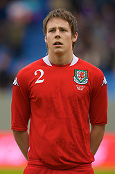 REYKJAVIK, ICELAND - Wednesday, May 28, 2008: Wales' Chris Gunter lines-up before the international friendly match against Iceland at the Laugardalsvollur Stadium. (Photo by David Rawcliffe/Propaganda)
