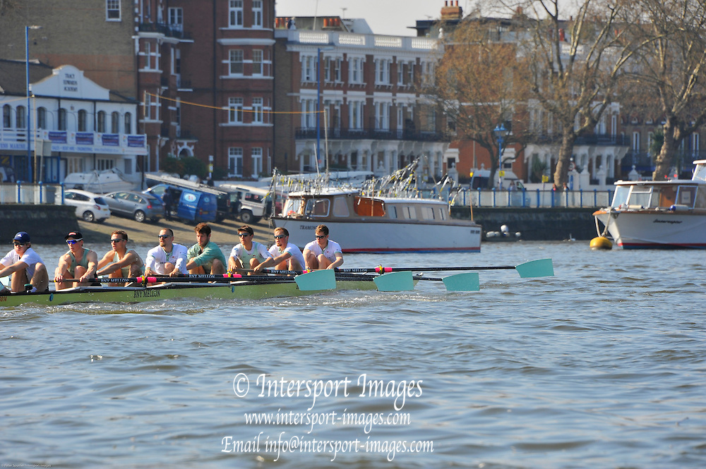 London, UK,  2014 Varsity, Annual Tideway Week. CUBC, Cambridge University Boat Club, Blue Boat, paddle towards the Boathouses. 09:45:59  Tuesday  01/04/2014  : [Mandatory Credit Intersport Images]<br /> CUBC. Bow. Mike THORP, 2. Luke JUCKETT, 3. Ivo DAWKINS, 4. Steve DUDEK, 5. Helge GRUETJEN, 6. Matthew JACKSON, 7. Joshua HOOPER, Stroke, Henry HOFFSTOT and cox Ian MIDDLETON