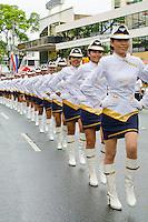 PANAMA, PANAMA - NOVEMBER 03: Students from the Instituto Nacional high school performing drills at the Independence Day parade. November 03, 2009.  City, Panama. (Photo: Ruben Alfu / Istmophoto)