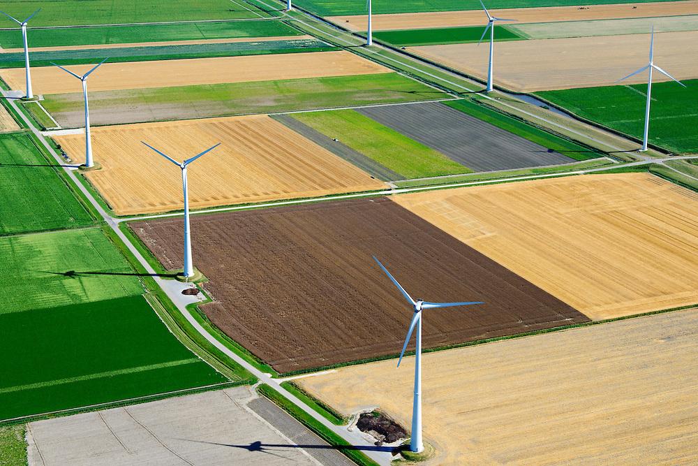 Nederland, Groningen, Gemeente Eemsmond, 05-08-2014;  Emmapolder met windmolenpark. <br /> <br /> Emmapolder, North Netherland, wind farm.<br /> luchtfoto (toeslag op standard tarieven);<br /> aerial photo (additional fee required);<br /> copyright foto/photo Siebe Swart