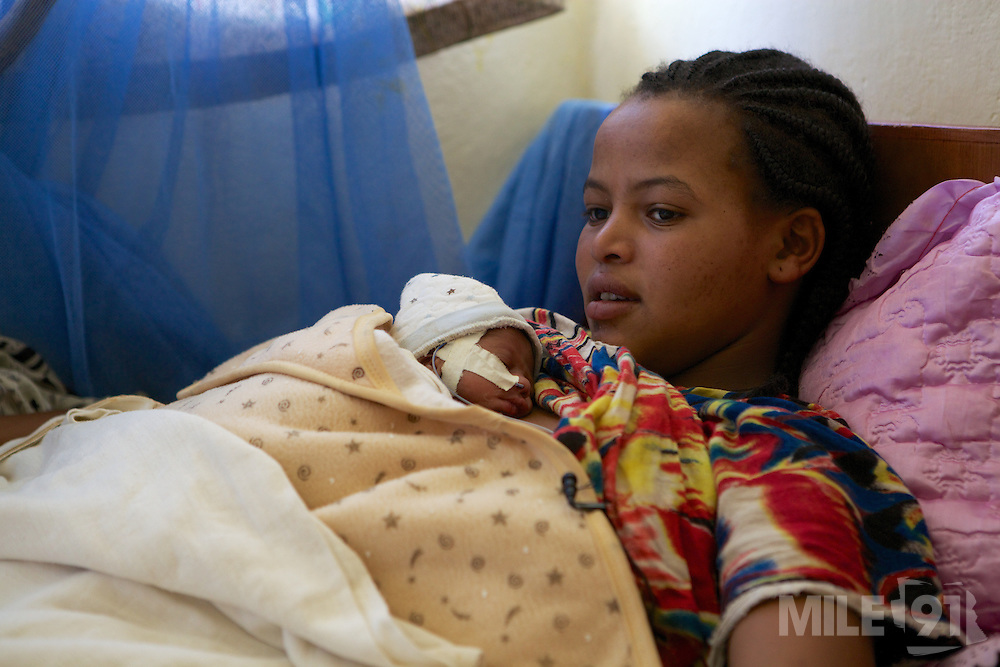 A mother holding her baby in Arba Minch General Hospital, Ethiopia