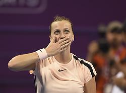 DOHA, Feb. 18, 2018  Petra Kvitova of the Czech Republic celebrates after winning the single's semifinal match against Caroline Wozniaki of Denmark at the 2018 WTA Qatar Open in Doha, Qatar, on Feb. 17, 2018. Petra Kvitova won 2-1. (Credit Image: © Nikku/Xinhua via ZUMA Wire)