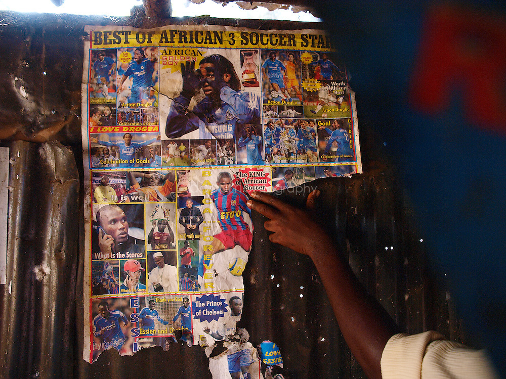 A football poster, Kroobay, Freetown, Sierra Leone
