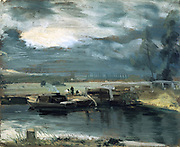 Barges on the Stour at Flatford Lock, with Dedham Church', 1811. John Constable (1776-1837) English landscape painter. River Stour, Suffolk, England.