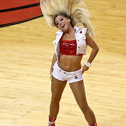 Jun 21, 2012; Miami, FL, USA; A Miami Heat dancer performs during the first quarter in game five in the 2012 NBA Finals against the Oklahoma City Thunder at the American Airlines Arena. Mandatory Credit: Derick E. Hingle-US PRESSWIRE